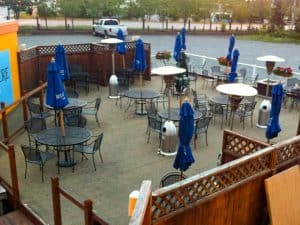Image of outdoor seating at Ramada Inn Anchorage Alaska