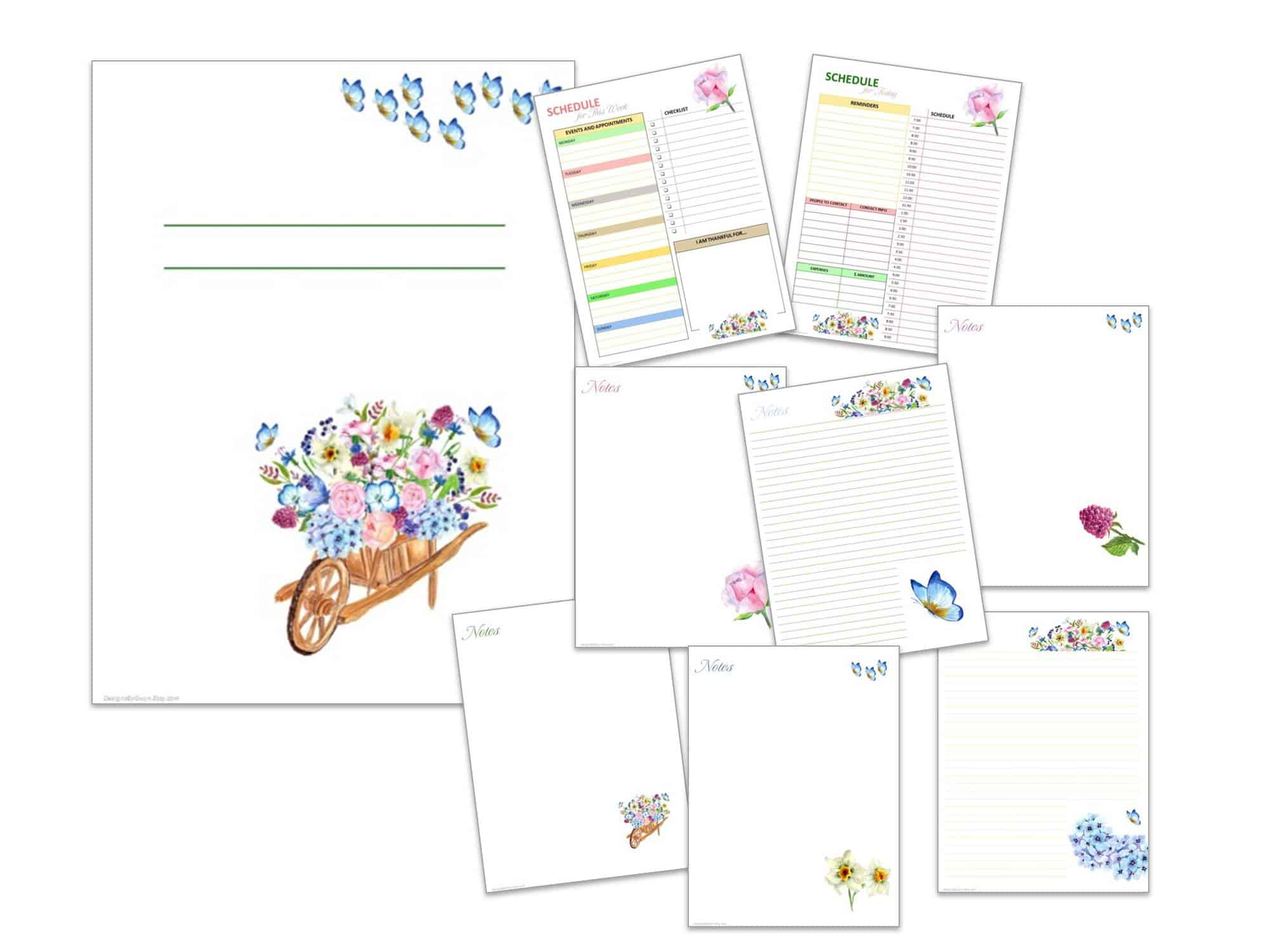 Printable journal pages on Etsy